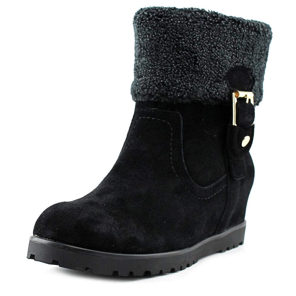 Tommy Hilfiger Soffia Women Round Toe Suede Black Ankle Boot