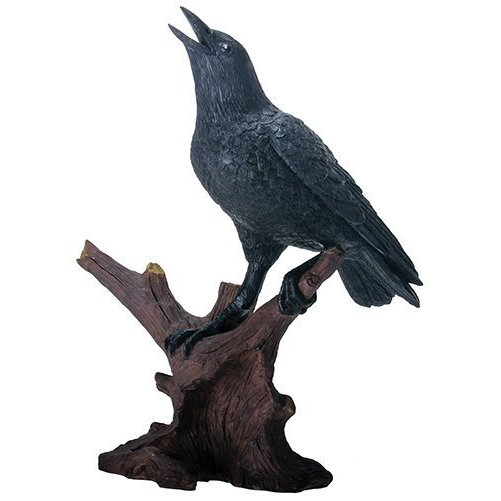 8.25 Inch Raven Bird Figurine Standing on Branch, Black and Brown
