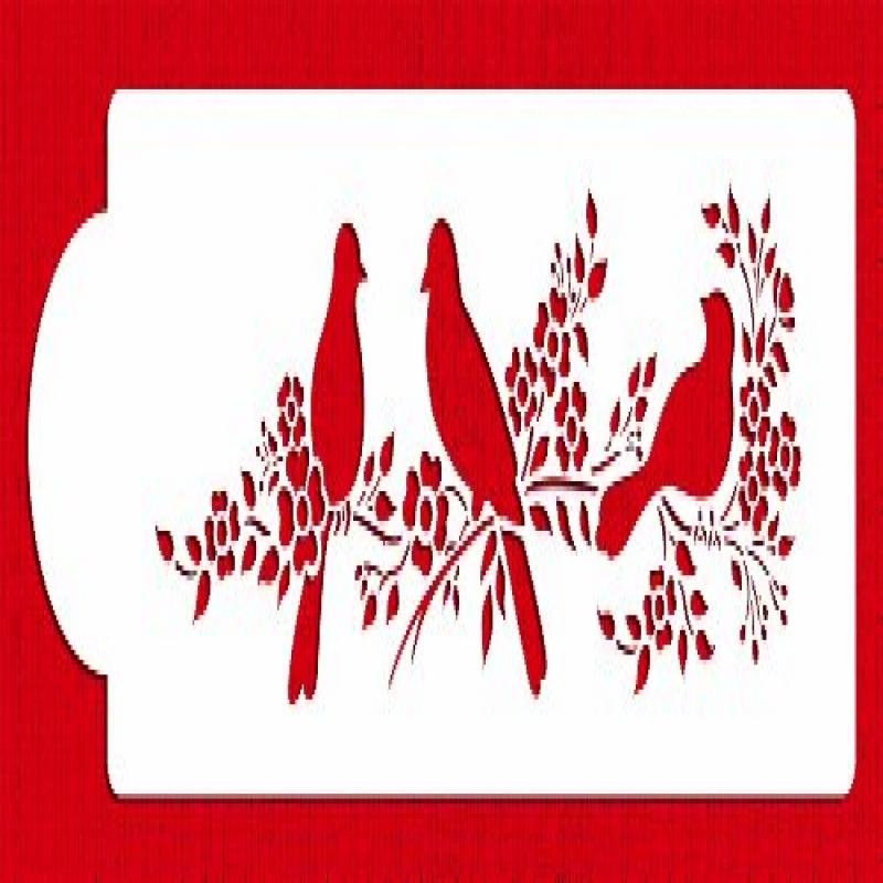 Love Birds Cake Stencil Side by Designer Stencils