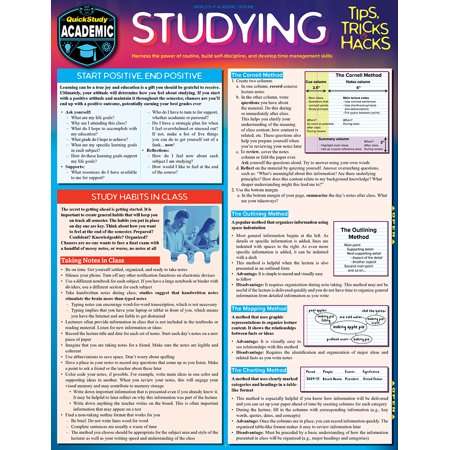 Studying Tips, Tricks & Hacks : QuickStudy Laminated Reference Guide to Grade Boosting Techniques (Laminated Tips)