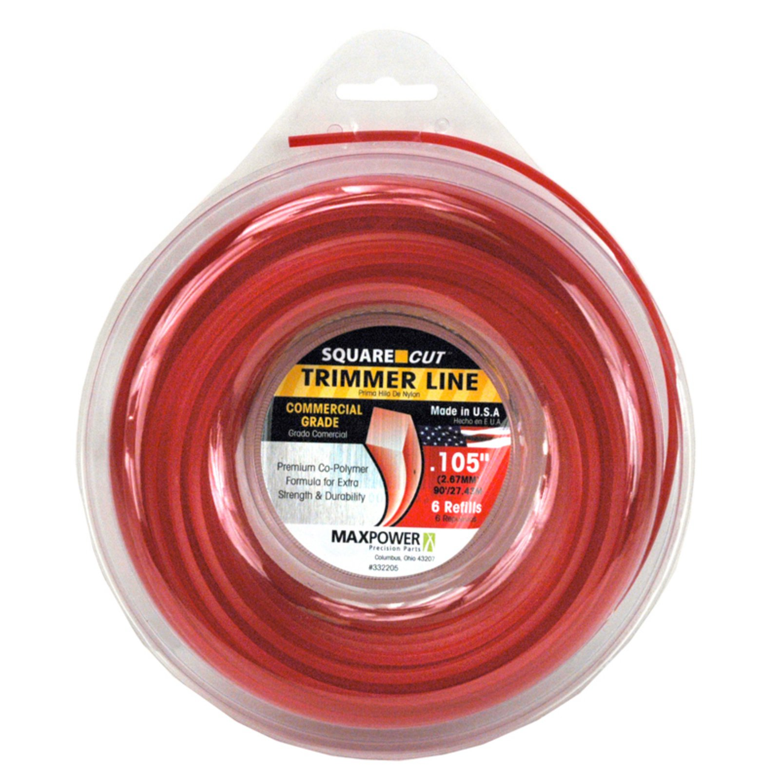 """Maxpower 333105 .105/"""" X 195/' Red Round Cut Residential Grade Trimmer Line"""