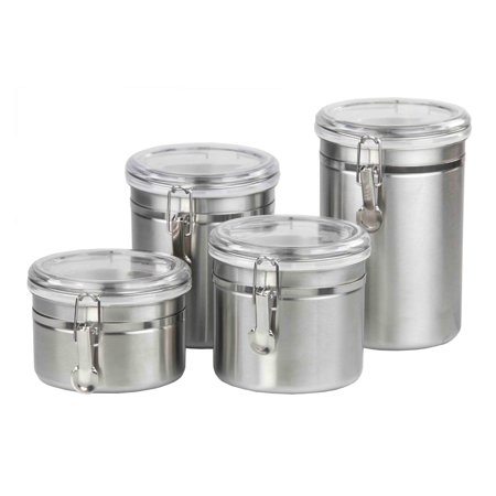Home Basics 4-Piece Stainless Steel Canister Set with Clear Plastic Lids