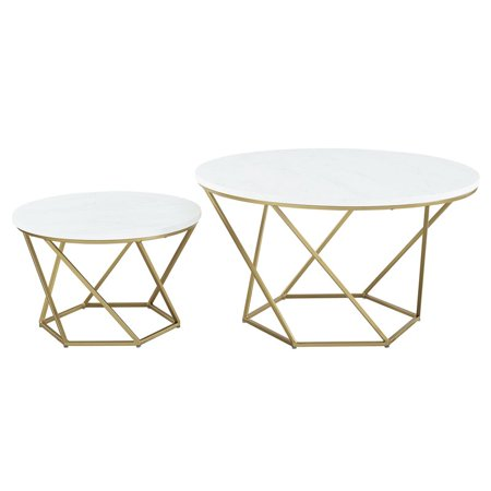 Modern Geometric Nesting Coffee Tables In Gold With White Faux Marble Top Walmart Canada