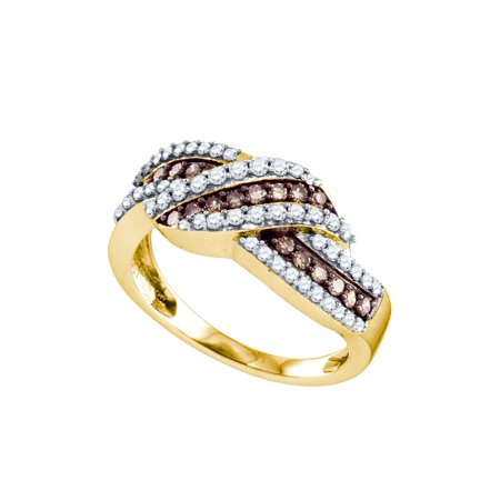 - 10kt Yellow Gold Womens Round Cognac-brown Color Enhanced Diamond Crossover Band Ring 3/4 Cttw