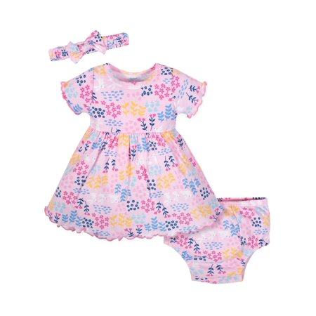 Dress with Diaper Cover and Headband Outfit Set, 3pc (Baby Girls) - Dress Up A Girl