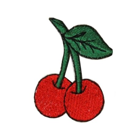 (ID 1173B Cherries on Stem Patch Tattoo Fruit Cherry Embroidered Iron On Applique)