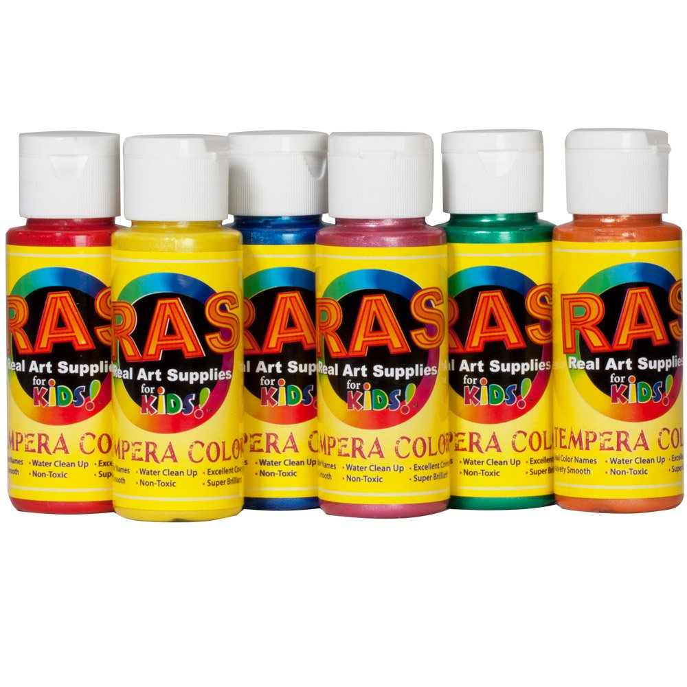 RAS Tempera Paint for Kids Set of 6 2 oz. Bottles - Pearl Colors