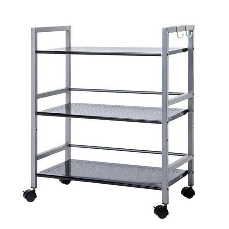 Zimtown 3-Tier Wire Mesh Rolling Cart for Serving Utility Organization Kitchen Cart US Aluminum Serving Cart
