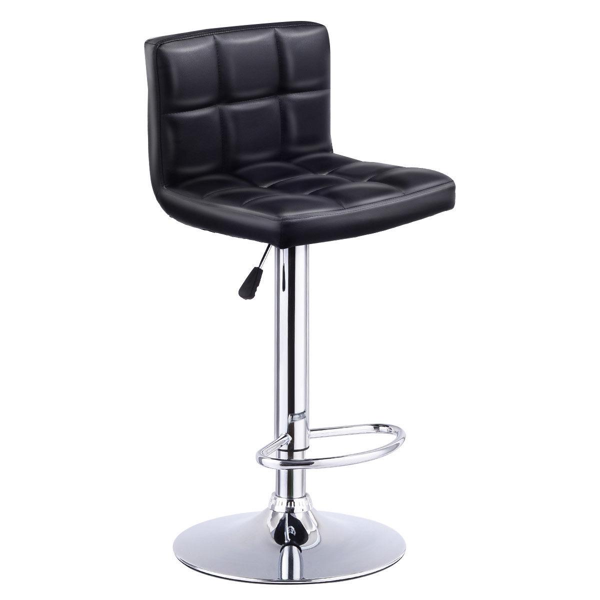 Costway 1 PC Bar Stool Swivel Adjustable PU Leather Bar Stools Bistro Pub Chair Black by Costway