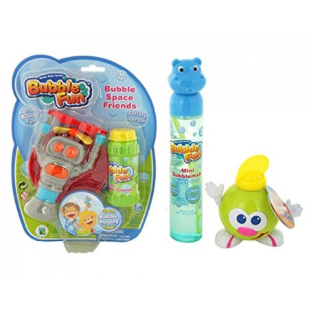 Twinkle Me Bubble Fun Pack-bubble gun robot, tube and 4oz smiley face bottle. Great Summer Outdoor Gift for Toddler and Kids- Solution Includes (Bubble Tubes)