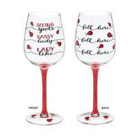 Burton & Burton Wine Glass Ladybug Fill Line