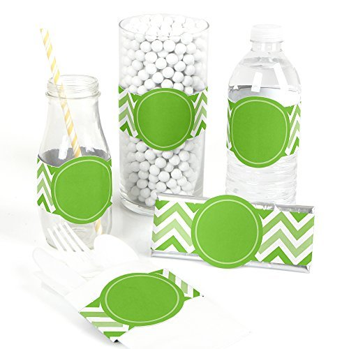 Chevron Green - DIY Party Wrapper Favors - Set of 15