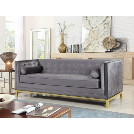 Outstanding Chic Home Evie Club Sofa Sleek Elegant Tufted Velvet Plush Cushion Brass Finished Stainless Steel Brushed Metal Frame Couch Modern Contemporary Grey Gmtry Best Dining Table And Chair Ideas Images Gmtryco