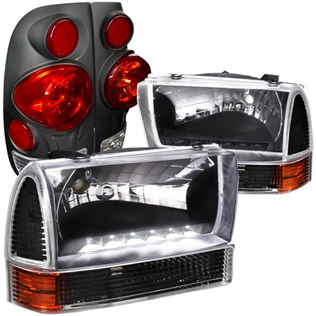 Spec-D Tuning For 1999-2004 Ford F250 Super Duty Style Side, Black Led Headlights, Corner Lamps, 3D Tail Lamps (Left+Right) 1999 2000 2001 2002 2003 2004