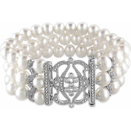 Miabella 6.5-7mm White Freshwater Pearl and 2 Carat T.G.W. Cubic Zirconia Sterling Silver Three-Row Pearl Bracelet, 7""