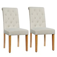 Costway Set of 2 Parsons Upholstered Fabric Chair with Wooden LegsPinkBeigeGray