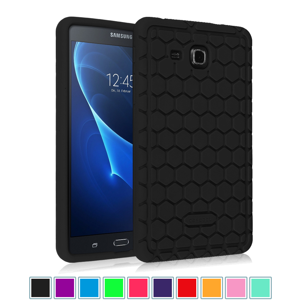 "Samsung Galaxy Tab A 7.0"" Tablet Silicone Case - Fintie Lightweight [Anti Slip] Shock Proof Cover Kids Friendly, Black"