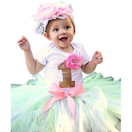 1st Birthday Outfit Girl (Noah's Boytique Baby Girls First Birthday Mint Pink and Gold Lace Tutu Outfit with Boutique Style Headband Flowers Feathers Rhinestones 12-18)