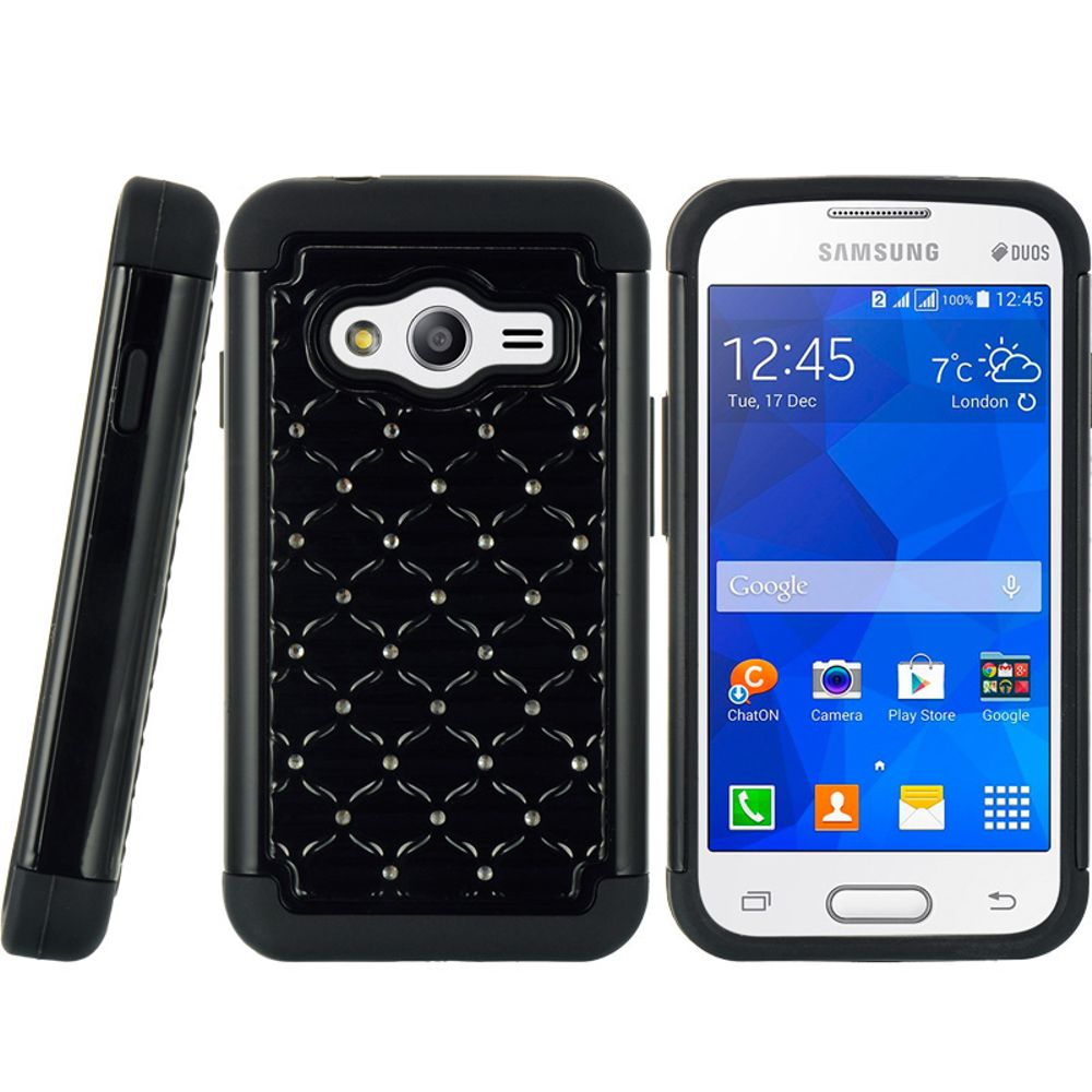 Samsung Galaxy Ace 4 Case By Insten Dual Layer Shock Absorbing Hybrid Rubberized Hard Plastic Soft Silicone Cover With Diamond For