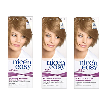 Clairol Nice n Easy Hair Color #70 Beige Blonde, UK Loving Care (Pack of 3) + Makeup Blender Stick, 12 Pcs - 70 Disco Hair And Makeup