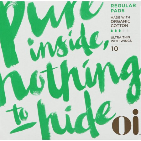 oi Pure Certified Organic Cotton Pads with Wings, Regular, 10 CT A Firm Cotton Pads