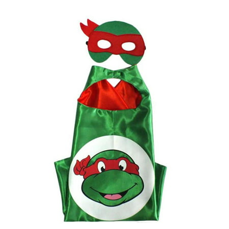 Cartoon Costume - TMNT Raph Turtle Logo Cape and Mask with Gift Box by Superheroes (April From Tmnt Costume)