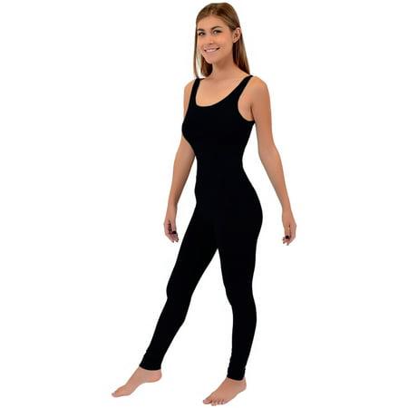 - Women's Ankle Length Cotton Tank Unitard - Small (0-2) / Black