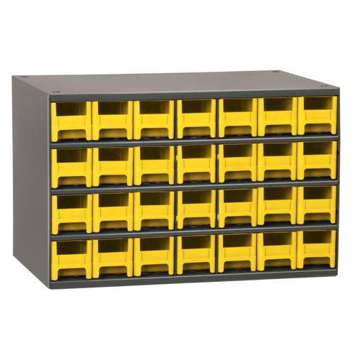 """Akro-mils Steel Drawer Bin Cabinet, 17""""W x 11""""D x 11""""H, 28 Drawers, Gray 19228"""