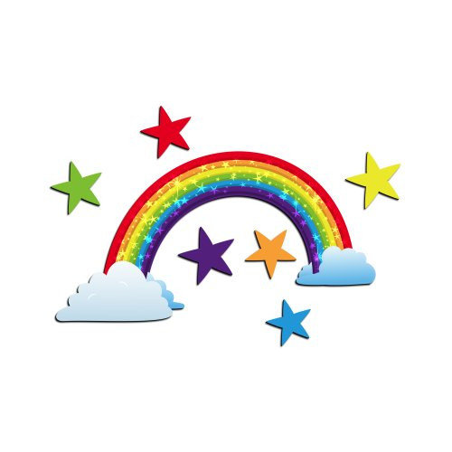 ZWalls Rainbow with Stars 9 Piece Scene 3D Cartoon Wall Art