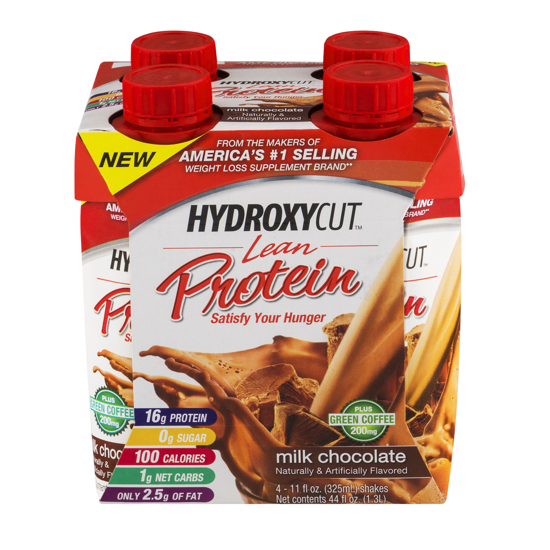Hydroxycut Lean Shake, 16 Grams of Protein, Milk Chocolate, 11 Oz, 4 Ct