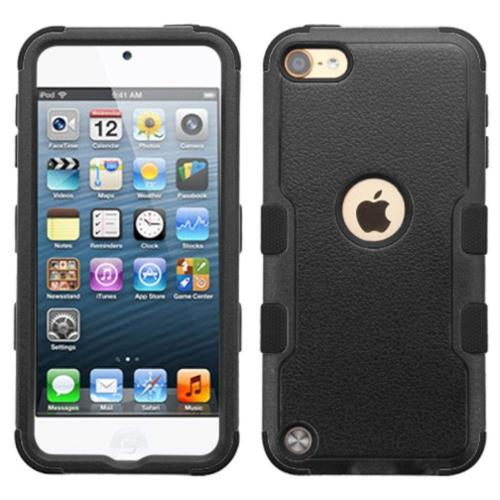 Insten Tuff Hard Dual Layer Rubber Silicone Cover Case For iPod Touch 6 6th Gen / 5 5th Gen - Black
