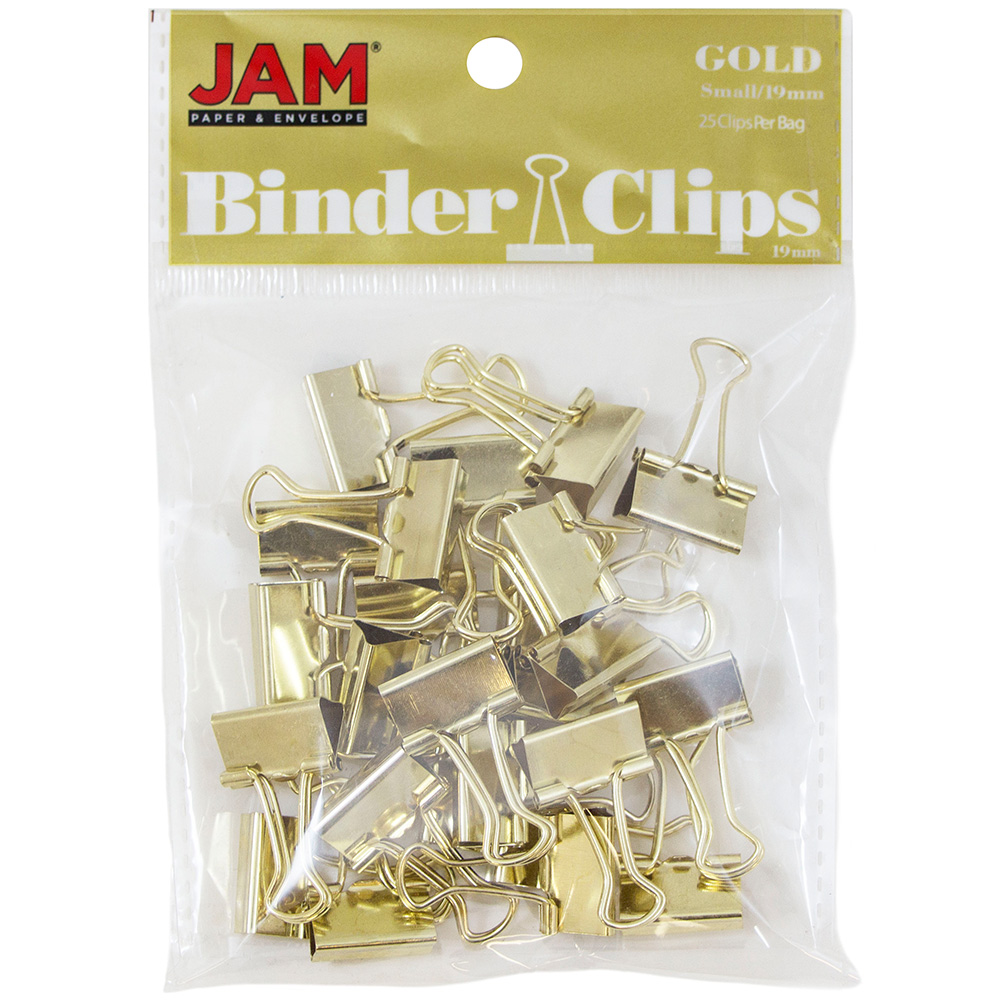 JAM Paper Binder Clips, Small, 19mm, Gold Binderclips, 25/pack