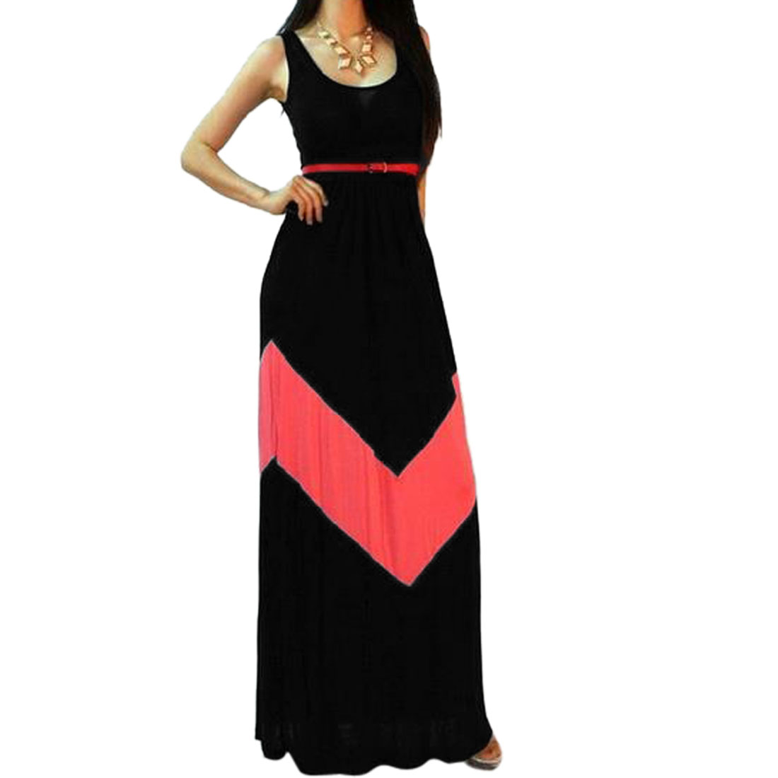 Women\'s Scoop Neck Waist Tie Maxi Dress with Side Slits