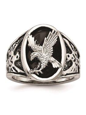 Mens Stainless Steel Polished Black Enameleded Eagle Ring Size 10