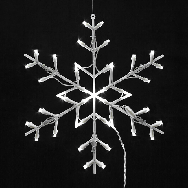 "16"" Lighted LED Snowflake Christmas Window Silhouette Decoration"