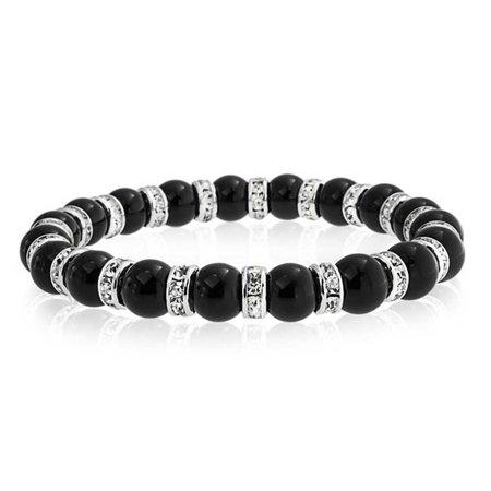 Black Onyx Ball Bead Stackable Strand Stretch Bracelet For Women White Crystal Rondelle Spacer Silver Plated Brass Bling Ball Bracelets