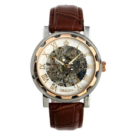 Hand-winding Retro Mens Wrist Watch Mechanical Luminous Hands Brown Leather