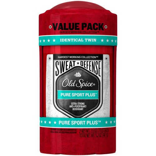 Old Spice Hardest Working Collection Sweat Defense Pure Sport Plus Scent Anti-Perspirant & Deodorant, 2.6 oz, (Pack of 2)