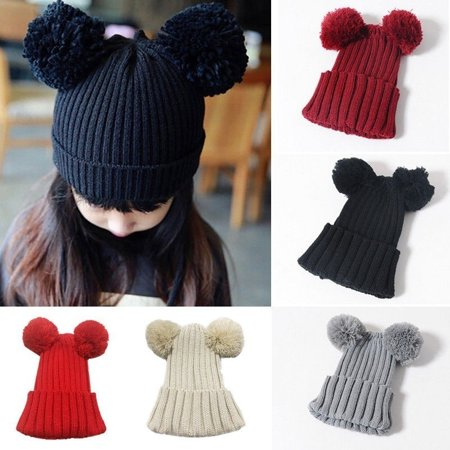 Baby Winter Hat Ball Pompom Kids Girl Boy Children Mouse Ear Knitted Wool - Baby Mouse Ears