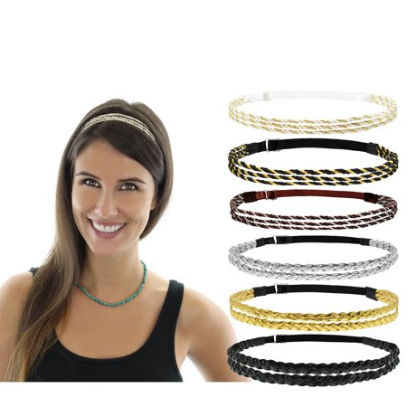 Beaute Galleria 6 Pieces Adjustable Elastic Non Slip Braided Plaited Women Headbands Hair Band with Double Braided and Triple Strand Twisted Gold Silver Disco Hippie Boho Bohemian Style Hair Accessory](Head Piece)