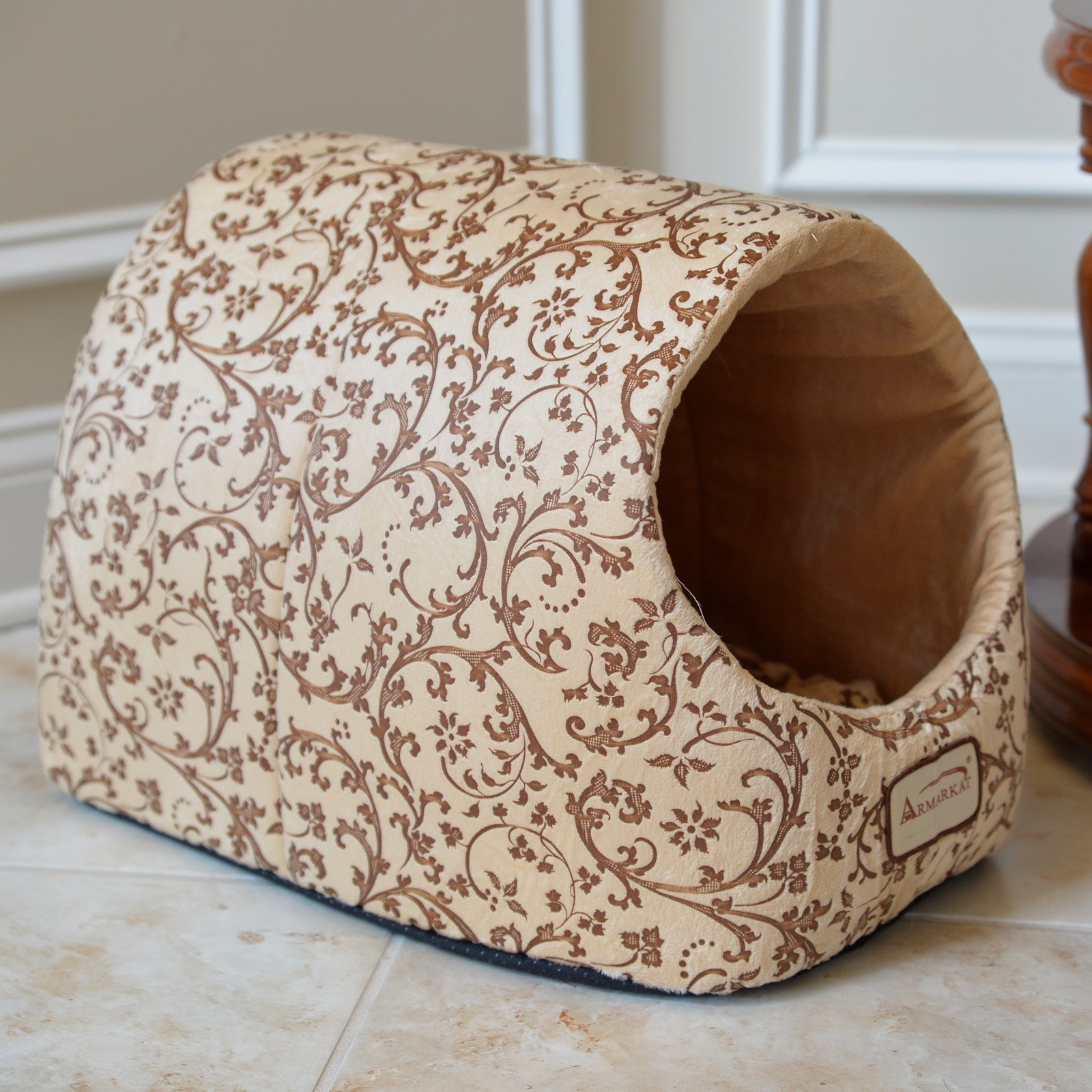 Armarkat Cat Bed with Flower Pattern, Beige, C11HYH/MH