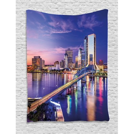 United States Tapestry  Jacksonville Florida Skyline Vibrant Night St  Johns River Scenic  Wall Hanging For Bedroom Living Room Dorm Decor  40W X 60L Inches  Royal Blue Light Pink  By Ambesonne