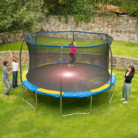 Bounce Pro 12; Trampoline with Flash Light Zone and Enclosure - Bouncy Balls Bulk