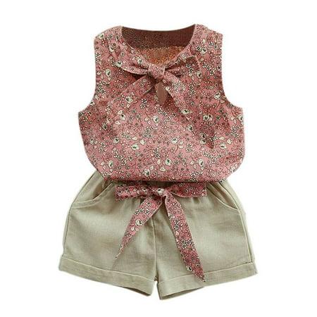 88e4f705ea007 Girls Outfit Set,2PCS Toddler Kids Summer Baby Girl Clothes Floral Print  T-shirt Tops+Shorts Pants