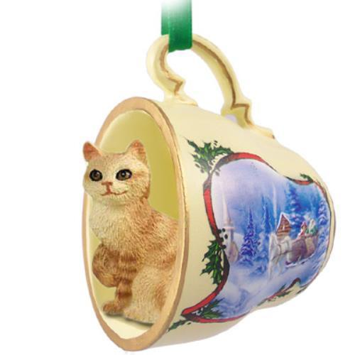 STCC23 Red Tabby Manx Tea Cup Sleigh Ride Holiday Ornament