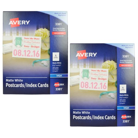 Avery 3381 Postcard Index Card Stock 85x11 200 Blank Cards 2