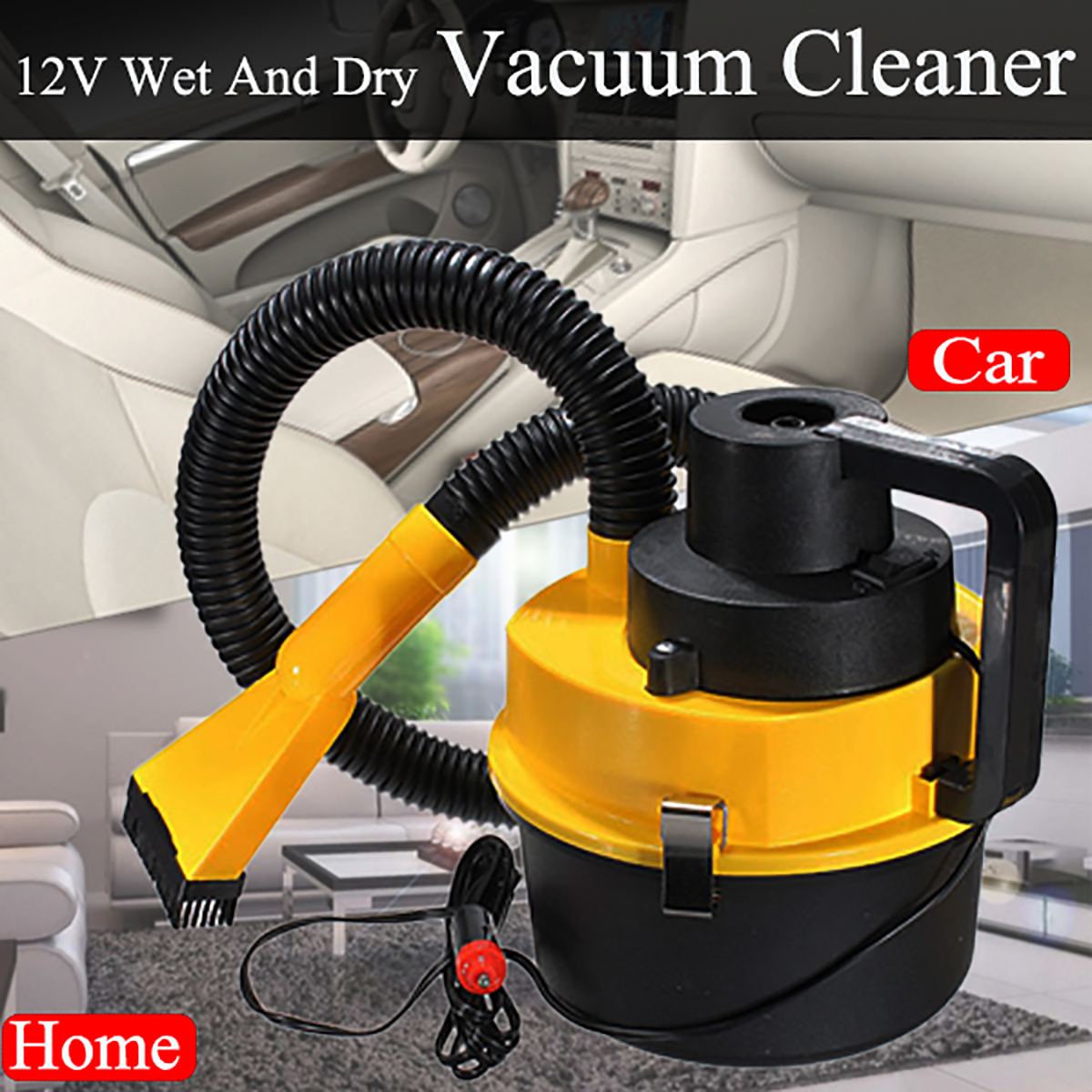 12V Portable Hand Held Vacuum Cleaner Wet Dry Car Shop Wall Mount Garage Blower Vac US by
