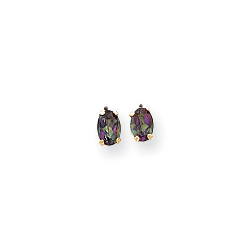 Jewelryweb 14k Oval Mystic Fire Topaz Post Earrings