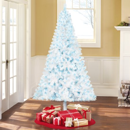 White Christmas Tree With Blue Lights.Holiday Time Pre Lit 6 5 Madison Pine White Artificial Christmas Tree Blue Lights