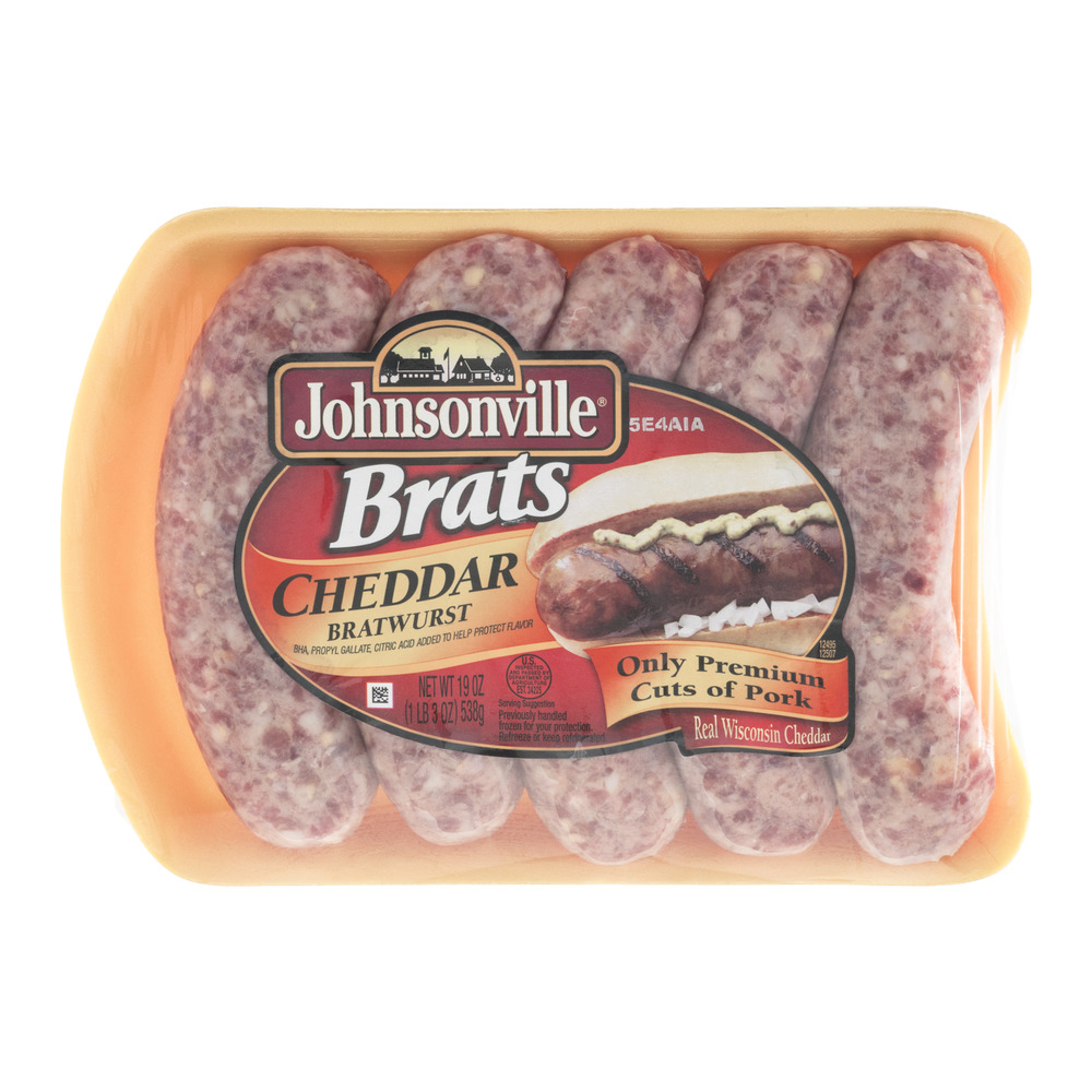 Johnsonville Cheddar Brats 19oz tray (101303, 101325, 101344) Holiday Promo